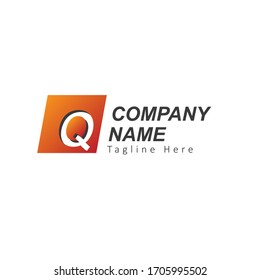 Initial Letter Q Logo with Square. Design Vector Illustration Template