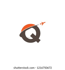 Initial Letter Q Transportaion, Airplane, Aircraft Log Design