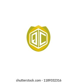 Initial Letter QC Hexagonal Shape Logo Design with Leaf, Nature, Ecology, Environment Illustration