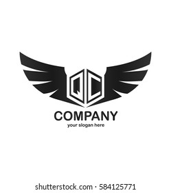 Initial Letter QC Hexagonal Shape Logo with Wings Icon