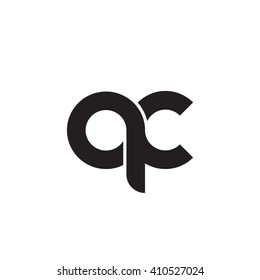 initial letter qc linked round lowercase monogram logo black
