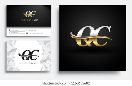 initial letter QC logotype company name colored gold and silver swoosh design. Vector sets for business identity on white background.