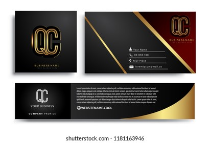 initial letter QC logotype company name colored gold elegant design. Vector sets for business identity on black background.