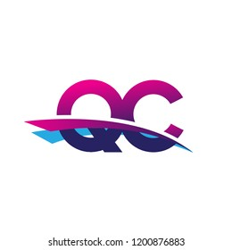 initial letter QC logotype company name colored blue and magenta swoosh design. vector logo for business and company