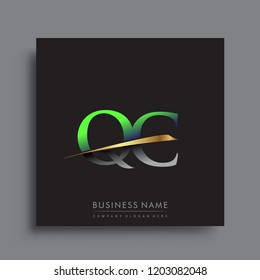 initial letter QC logotype company name colored green and gold swoosh design. vector logo for business and company