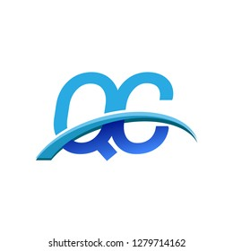 initial letter QC logotype company name colored blue and swoosh design. vector logo for business and company identity.