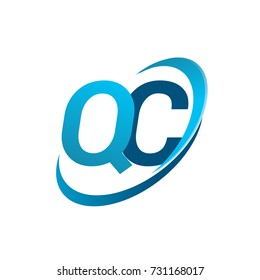 initial letter QC logotype company name colored blue swoosh design concept. vector logo for business and company identity.