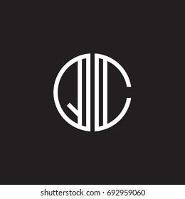 Initial letter QC, minimalist line art monogram circle shape logo, white color on black background