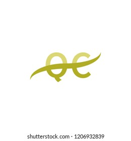 Initial letter QC, overlapping movement swoosh logo, green color on white background