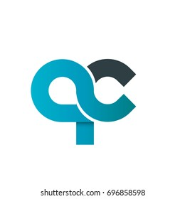 Initial Letter QC Rounded Lowercase Logo