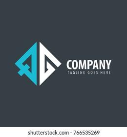 Initial Letter QG Design Logo