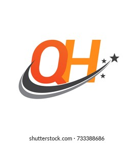 initial letter QH logotype company name colored orange and grey swoosh star design. vector logo for business and company identity.