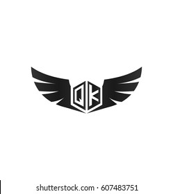 Initial letter QK logo with wings icon