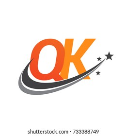 initial letter QK logotype company name colored orange and grey swoosh star design. vector logo for business and company identity.