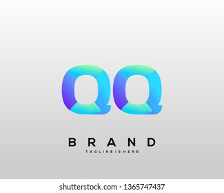 Initial letter QQ logo with colorful background, letter combination logo design for creative industry, web, business and company. - Vector