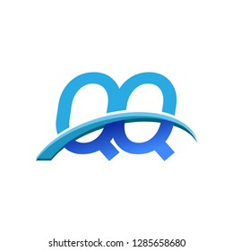 initial letter QQ logotype company name colored blue and swoosh design. vector logo for business and company identity.