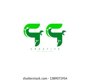 Initial Letter QQ Modern Green Leaves Stylish Creative Logo