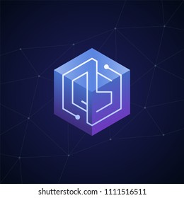 Initial letter QS, block chain, looping mono line circuit letter on hexagon cube logo, blue magenta gradient color on black blue network background