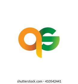 initial letter qs linked round lowercase logo orange green