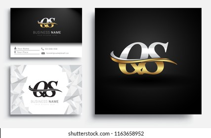 initial letter QS logotype company name colored gold and silver swoosh design. Vector sets for business identity on white background.