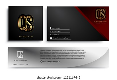 initial letter QS logotype company name colored gold elegant design. Vector sets for business identity on black background.