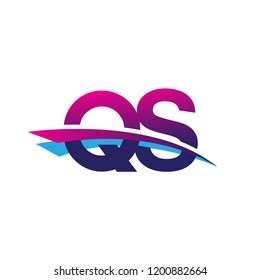 initial letter QS logotype company name colored blue and magenta swoosh design. vector logo for business and company
