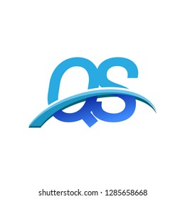 initial letter QS logotype company name colored blue and swoosh design. vector logo for business and company identity.