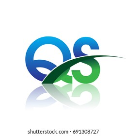 initial letter QS logotype company name colored blue and green swoosh design. vector logo for business and company identity