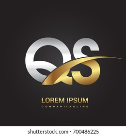 initial letter QS logotype company name colored gold and silver swoosh design. isolated on black background.