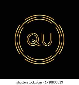 Initial Letter QU Logo Design Vector Template. Digital Abstract Circle QU Letter Logo Design