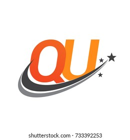 initial letter QU logotype company name colored orange and grey swoosh star design. vector logo for business and company identity.