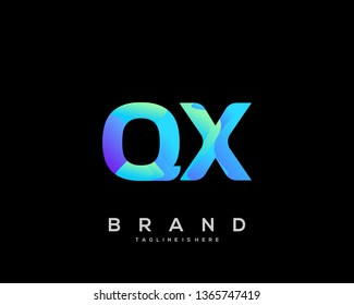 Initial letter QX logo with colorful background, letter combination logo design for creative industry, web, business and company. - Vector