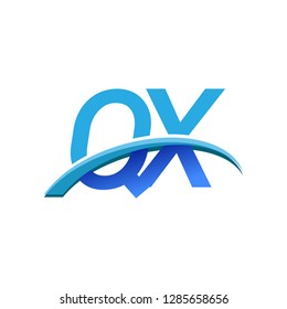 initial letter QX logotype company name colored blue and swoosh design. vector logo for business and company identity.