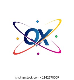 initial letter QX logotype science icon colored blue, red, green and yellow swoosh design. vector logo for business and company identity.