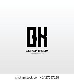 Initial letter QX minimalist art logo vector