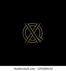 Initial letter QX XQ minimal monogram art logo, gold color on black background.