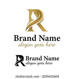 initial letter R  beauty face with hair stylist, hairdresser, hair cut, long hair beauty logo for salon