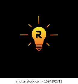 initial letter R in the bulb lamp logo vector inspiration