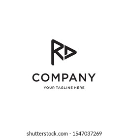 Initial Letter R D Play Line Rounded Triangle Logo