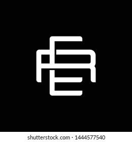 Initial letter R and E, RE, ER, overlapping interlock monogram logo, white color on black background