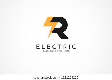 initial letter R for Electric logo, Letter R and thuder bolt combination, Flat Logo Design Template, vector illustration
