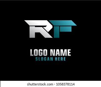 Initial letter R F logo template vector