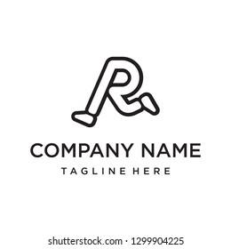 initial letter R with foot run running logo design template