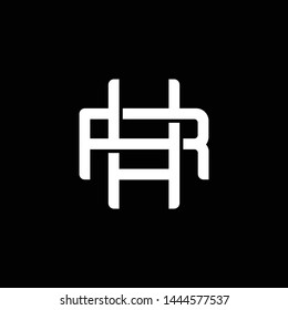 Initial letter R and H, RH, HR, overlapping interlock monogram logo, white color on black background