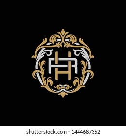 Initial letter R and H, RH, HR, decorative ornament emblem badge, overlapping monogram logo, elegant luxury silver gold color on black background
