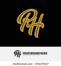 Initial letter R, H, RH or HR overlapping, interlock, monogram logo, gold color on black background