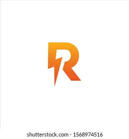 initial letter R icon logo design template with lightning - thunder - bolt - electric - vector