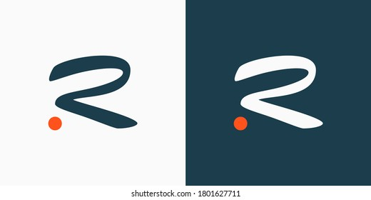 Initial Letter R Logo. Blue and White Hand Drawn Letter with Orange Dot isolated on Double Background. Usable for Branding Logos. Flat Vector Logo Design Template Element