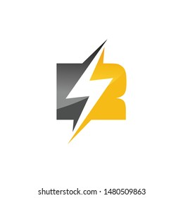 Initial letter R logo template lighting bolt design for business and company identity