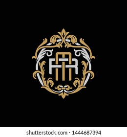 Initial letter R and M, RM, MR, decorative ornament emblem badge, overlapping monogram logo, elegant luxury silver gold color on black background